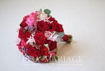 Buchet mireasa cu trandafiri rosii si hortenisa rosie / Buchet de mireasa rosu