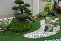 diseños patios flores y piedras