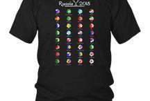 Russia 2018 Football Soccer Championship All 32 Teams Shirt