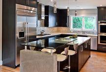 Back to BLACK - Cabinets & More / Looking for a dramatic change or highlight to your Kitchen or Bathroom?  Black is about as dramatic as it gets!  Check out our suggestions on how to include classy Black in your Cabinet and Countertop design plans!