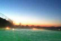 Sunset in pool today with my friend !!! I love it !!! / I love this sunset !!!!