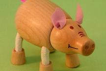 Piggy Figurine ~ Wood