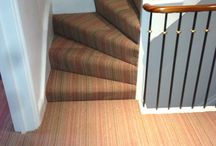 Stairs & Landings In Multi-Coloured Stripe Carpet / Client: Private Residence In North-West London Brief: To supply and install multi-coloured carpet to the stairs ad landings.