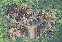 Maps, buildings, villages
