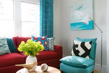 Living room colour schemes / To go with our red sofa