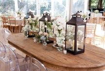Boots & Bowties / Benefit for Union County Shelter venue Twin Oaks Farms.  Country Fair elegance theme.  Dining :: simple shabby chic, galvanized bins, babies breath, burlap, lace, doilies, twine, white linens.  Fall florals with orange / coral peach / accents in blue antique mason jars.