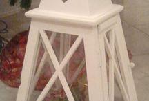 lanterna shabby piramide bianca / lanterna in legno bianco