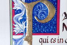 Quadri a china e foglia d'oro a rilievo / Realizzato a china, matite, acquerell, con foglia d'oro a rilievo
