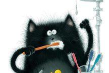 Cats brushing teeth