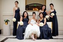 Bride & Bridesmaids   Bouquets   White & Navy