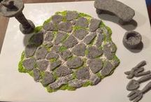 making clay stone and landscaping