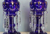 Victorian  Mantle Lustre  /  Vases