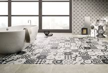 Black & White eclectic and classic tiles / Fiorenese b&w Cementine range of porcelain tiles. Perfect for feature walls and floors
