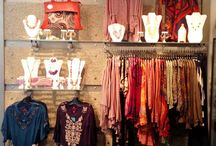 clothing and purse displays