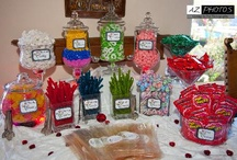 Pink, Red, Yellow, Green, and Blue Wedding Candy Buffet