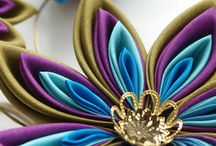CUTTLEFISHLOVE KANZASHI / Hand-made Japanese silk fabric origami flower brooches