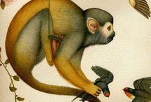 Monkeys painting