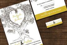 Oak tree wedding in mustard / Mustard yellow wedding invitations, Oak tree wedding invites, nature wedding