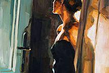 femme à la porte