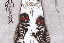 일본 고양이 전통문양