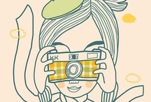 girl with camera illustration
