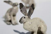 pottery rabbits