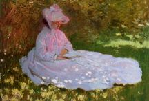 Artwork of Claude Monet / Claude Monet (1840 – 1925), the founder of Impressionism, was one of the most influential landscape painters in the history of art. Born in Paris, Monet was enrolled in the studio of Glenyre, where he met Renoir, Sisley, and Bazille, who became the core of the Impressionist group. Painting outdoors, he broke the tradition of portraying a subject literally by conveying the fleeting effects of atmosphere, time of day, and season upon color and light. / by Coralie Jones