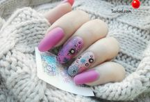 purple nail art water