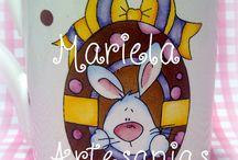 conejos de pascuas / mis tazas pintadas a mano