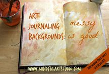 Art Journaling Backgrounds - How to / Techniques for creating interesting and useful backgrounds for art journals. These surfaces support, pen, marker, collage, sewing, etc.
