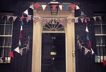 Queen's Diamond Jubilee / Downing Street is gearing up to celebrate Queen Elizabeth II's Diamond Jubilee.  In preparation for a street party, decorations are being put up around the house and along the street.  This board shows our favourite Jubilee pins.