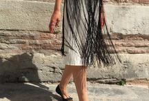 Skirt - Midi Skirt - Tassel Skirt - Tassel Skirts - A Line Skirt - Black Skirt - Crepe Skirt