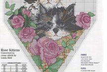Haft krzyż. koty