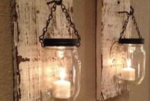 Driftwood jar light / Hanging candle jar