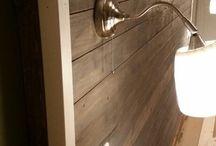 Headboard / Headboard made of unplanned wood treated with Osmo Hardwax