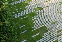 Overgang fliser-græs