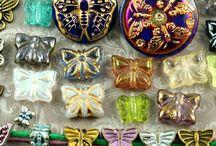 Butterfly Czech Glass Beads, Buttons, Charms, Findings