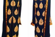 Navy Blue Gold Embroidered Kurta set