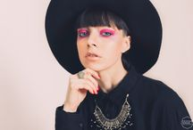 Make-Up and Style / Model in pink make-up wearing hat.  Model & Make-up: Cristina Genghini Photographer: Cristian Ruboni