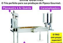 Kit Trio Gourmet / Kit Trio Gourmet Pipoqueira á Ar Quente + Caramelizadora + Mesa em Aço Inoxidável