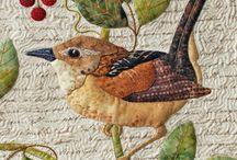 Appliqué bird quilts