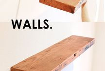 Floating shelves / Floating shelves can bring a little architectural interest to an otherwise blank wall. These floating shelve are easy to hang and remove, and can be made as long as you wish.