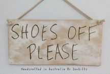 sign: Shoes Off Please signs, quality white washed painted hand crafted hand,ade sign made in Australia by ZenGifts.com.au