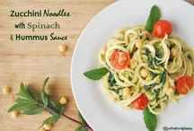 Zucchini Noodles with Spinach & Hummus Sauce / A healthy but comforting dish. Vegan, Gluten-free, Fat-free, Sugar-free, Soy-free, Nut-free