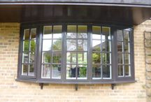 bay windows / alu timber composite windows with glazing bars / leaded glass