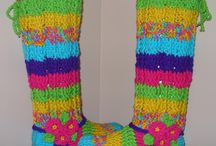 Crochet Ribbed and Cable Braid Slipper Boots