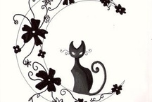 Cat moon henna / This cat reminds me of Ozzie and because he likes the night and I love the moon