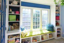 Playroom window seat