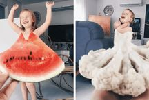 Mom and Daughter fashion dresses using Food And Flowers to become like stars