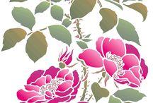 Oversize Wild Rose Stencil